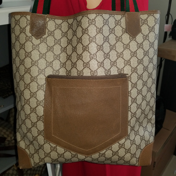 2c7dd6250 Gucci Bags | Vintage Leather And Canvas Gg Supreme Tote | Poshmark